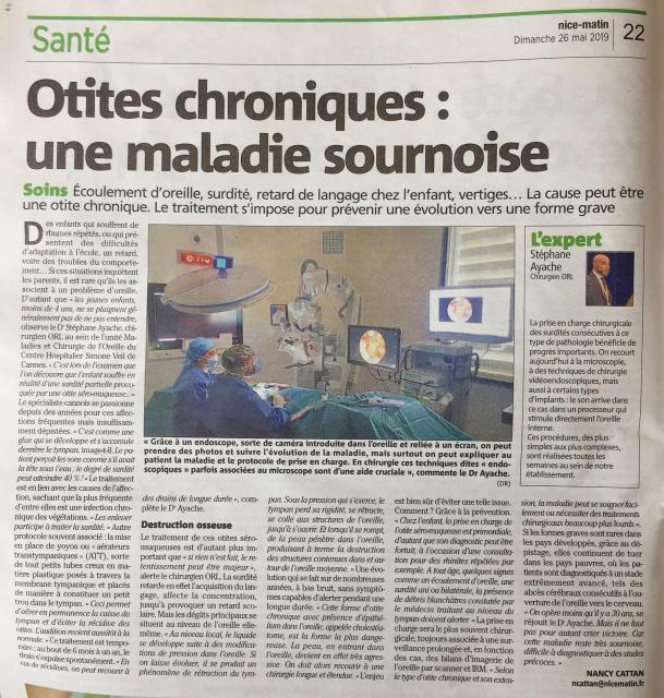 Article otites chroniques nice matin 26 5 19 copie